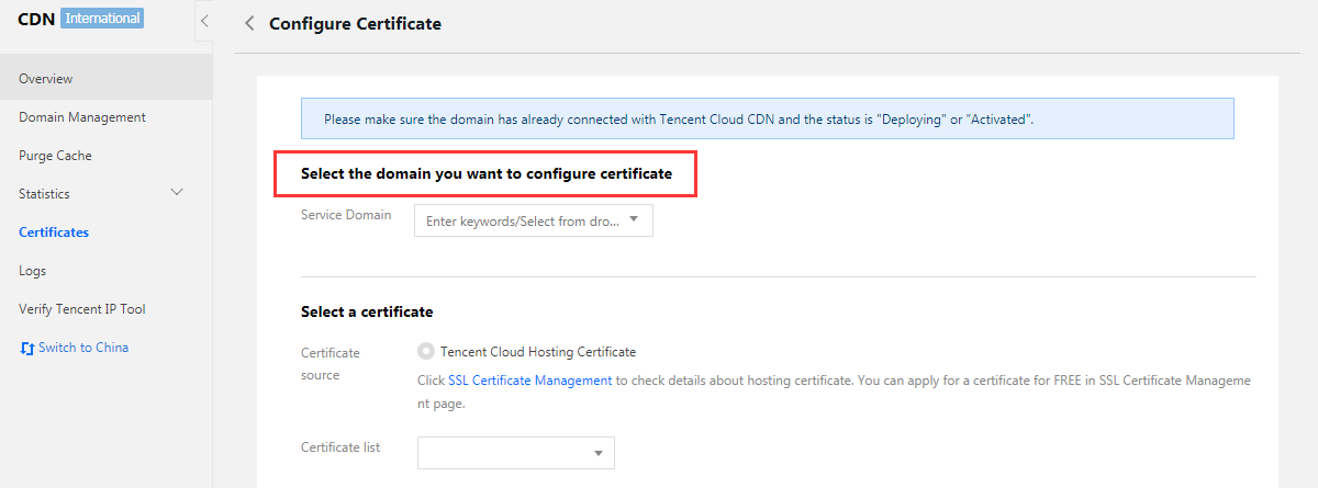 Manage Certificates Content Delivery Network Help